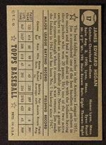 1952 Topps #17 Jim Hegan Cleveland Indians - Black Back