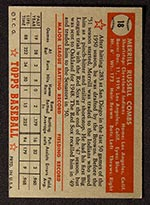 1952 Topps #18 Merrill Combs Cleveland Indians - Red Back