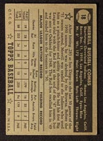1952 Topps #18 Merrill Combs Cleveland Indians - Black Back