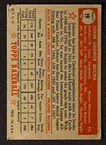 1952 Topps #19 Johnny Bucha St. Louis Cardinals - Red Back