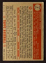 1952 Topps #1 Andy Pafko Brooklyn Dodgers - Red Back