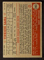 1952 Topps #20 Billy Loes Brooklyn Dodgers - Red Back