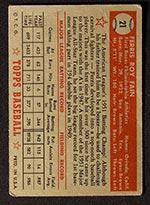 1952 Topps #21 Ferris Fain Philadelphia Athletics - Red Back