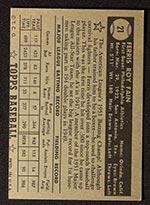 1952 Topps #21 Ferris Fain Philadelphia Athletics - Black Back