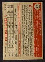 1952 Topps #24 Luke Easter Cleveland Indians - Red Back