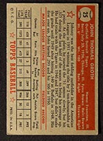 1952 Topps #25 Johnny Groth Detroit Tigers - Red Back