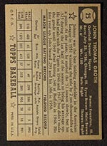 1952 Topps #25 Johnny Groth Detroit Tigers - Black Back