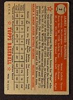 1952 Topps #2 James E. Runnels Washington Senators - Red Back
