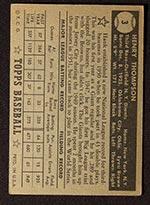 1952 Topps #3 Hank Thompson New York Giants - Black Back