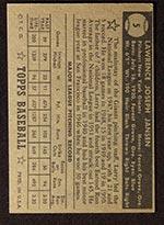 1952 Topps #5 Larry Jansen New York Giants - Black Back