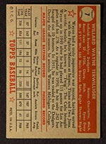 1952 Topps #7 Wayne Terwilliger Brooklyn Dodgers - Red Back