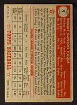 1952 Topps #9 Bobby Hogue New York Yankees - Red Back