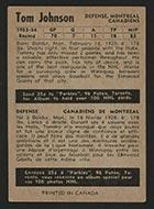 1954-1955 Parkhurst #10 Tom Johnson Montreal Canadiens - Back