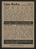 1954-1955 Parkhurst #11 Calum MacKay Montreal Canadiens - Back