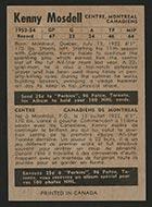 1954-1955 Parkhurst #12 Ken Mosdell Montreal Canadiens - Back