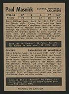 1954-1955 Parkhurst #13 Paul Masnick Montreal Canadiens - Back
