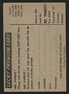 1954-1955 Parkhurst #13 Paul Masnick (Lucky Premium) Montreal Canadiens - Back