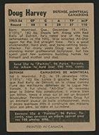 1954-1955 Parkhurst #14 Doug Harvey Montreal Canadiens - Back