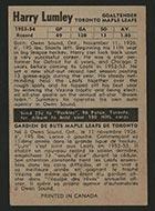 1954-1955 Parkhurst #16 Harry Lumley Toronto Maple Leafs - Back