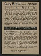 1954-1955 Parkhurst #1 Gerry McNeil Montreal Canadiens - Back