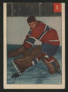 1954-1955 Parkhurst #1 Gerry McNeil Montreal Canadiens - Front