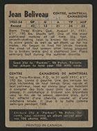 1954-1955 Parkhurst #3 Jean Beliveau Montreal Canadiens - Back