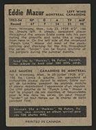 1954-1955 Parkhurst #4 Eddie Mazur Montreal Canadiens - Back