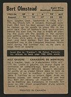 1954-1955 Parkhurst #5 Bert Olmstead Montreal Canadiens - Back