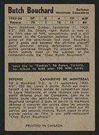 1954-1955 Parkhurst #6 Butch Bouchard Montreal Canadiens - Back