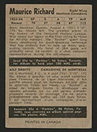 1954-1955 Parkhurst #7 Maurice Richard Montreal Canadiens - Back