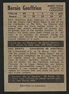 1954-1955 Parkhurst #8 Bernie Geoffrion Montreal Canadiens - Back