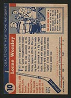 1954-1955 Topps #10 Lorne Worsley New York Rangers - Back