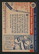 1954-1955 Topps #11 Andy Bathgate New York Rangers - Back