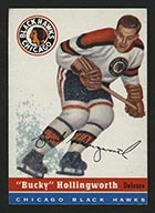 "1954-1955 Topps #12 ""Bucky"" Hollingworth Chicago Black Hawks - Front"