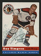 1954-1955 Topps #13 Ray Timgren Chicago Black Hawks - Front