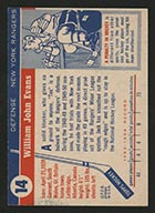 1954-1955 Topps #14 Jack Evans New York Rangers - Back