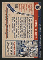 1954-1955 Topps #15 Paul Ronty New York Rangers - Back
