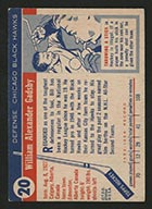 1954-1955 Topps #20 Bill Gadsby Chicago Black Hawks - Back