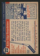 1954-1955 Topps #22 Wally Hergesheimer New York Rangers - Back