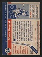 1954-1955 Topps #24 Metro Prystai Chicago Black Hawks - Back