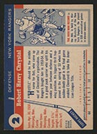 1954-1955 Topps #2 Bob Chrystal New York Rangers - Back