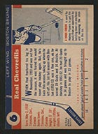 1954-1955 Topps #6 Real Chevrefils Boston Bruins - Back