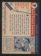 1954-1955 Topps #7 Bob Armstrong Boston Bruins - Back