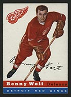 1954-1955 Topps #9 Benny Woit Detroit Red Wings - Front