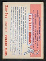 1954 Dan-Dee Potato Chips Al Lopez Cleveland Indians - Back