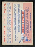 1954 Dan-Dee Potato Chips Art Houtteman Cleveland Indians - Back
