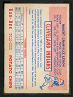 1954 Dan-Dee Potato Chips Bob Lemon Cleveland Indians - Back