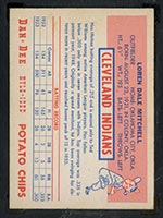1954 Dan-Dee Potato Chips Dale Mitchell Cleveland Indians - Back
