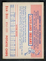 1954 Dan-Dee Potato Chips George Strickland Cleveland Indians - Back