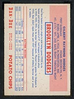 1954 Dan-Dee Potato Chips Gil Hodges Brooklyn Dodgers - Back